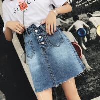 牛仔裙 女士chic不规则高腰短裙2019夏季新款女式ins超火a字包臀裙半身裙女装裙子