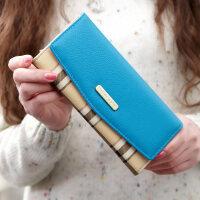 新款钱包 女长款英伦时尚经典格子翻盖信封女士钱包钱夹