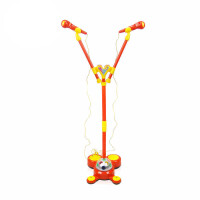儿童双麦克风扩音音乐话筒玩具卡拉OK唱歌玩具带支架扩音