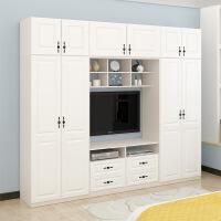 衣柜 组合 木质现代简约实木衣柜电视柜一体简易白色卧室组装家具组合木质柜子 2门组装