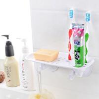 双庆 吸盘肥皂盒肥皂架沥水架厨卫置物架 牙具架多功能洗漱架牙具座沥水架SQ4189