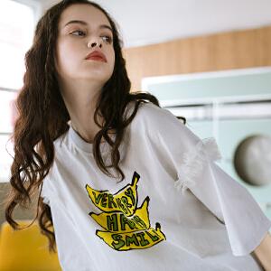 PASS2018夏装新款卡通香蕉字母印花t恤女宽松短袖潮打底衫衣服女