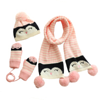 时尚帽子围巾手套三件套秋冬天甜美可爱儿童学生保暖卡通女童挂脖套件