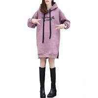 秋冬新款加绒宽松女套头中长款卫衣chic大码保暖加厚打底上衣T恤