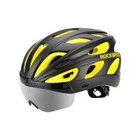 骑行头盔自行车头盔带风镜一体成型炫彩男女山地车公路车