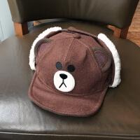 冬天防寒加绒护耳鸭舌棒球帽可爱布朗熊女学生帽子亲子款 可调节