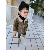 男童羊羔绒外套加绒2017秋新款韩版儿童麂皮绒皮毛一体夹克装
