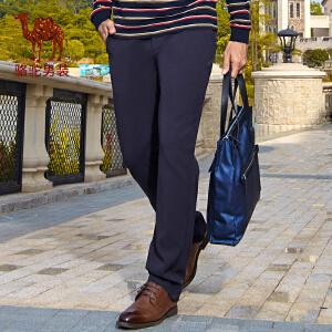 骆驼男装 秋季新款时尚纯色中腰男士日常休闲长裤子休闲裤男