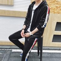 金丝绒卫衣套装男秋季青少年新款连帽开衫外套韩版潮流学生班服一套DJ-DS159