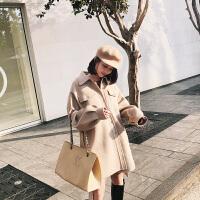 欧美新款口袋系带毛呢外套灯笼袖双面呢子大衣女 杏色