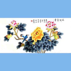 北京著名工笔画家,北京市美协会员,北京九久书画收藏文化交流中心画家凌雪(花开富贵)3