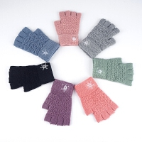 纯色半指毛线手套女秋冬时尚季韩版加厚保暖针织半截手套学生