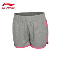 李宁短裤卫裤女士训练系列吸汗舒适针织运动裤AKSL162