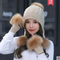 逛街女士帽子女保暖毛线帽潮保暖护耳帽甜美可爱韩版针织帽