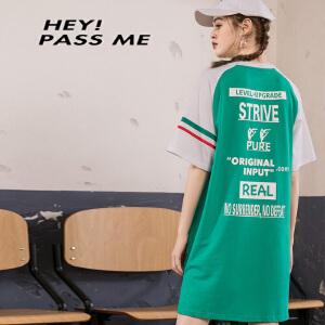PASS2018新款夏装撞色拼接短袖连衣裙女宽松字母下不规则t恤裙子