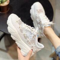 户外运动休闲鞋女 时尚镂空透气小白鞋女 新款水钻厚底松糕网鞋 韩版女士老爹鞋