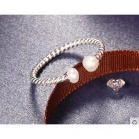 韩版简约时尚潮人麻花食指指环银饰品银开口贝珠戒指女