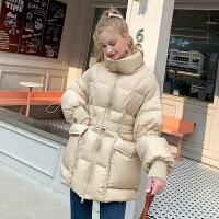 MG小象时尚羽绒服2019年新款冬装加厚保暖收腰修身显瘦白鸭绒外套