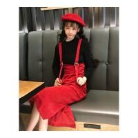 套装女秋装韩版时尚秋季背带开叉连衣裙+针织打底两件套