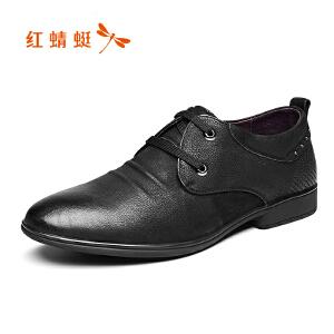 红蜻蜓男鞋2017年新款皮鞋时尚休闲男士单鞋正品系带擦色低帮鞋潮