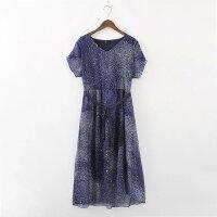 连衣裙女大码女装2017夏装新款胖妹妹韩版宽松双层雪纺星空紫长裙