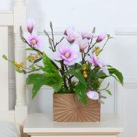 玉兰仿真花假花套装 客厅居家饰品干花绢花 玉兰花整体花艺