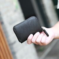 新款男士钱包短款拉链皮夹 时尚休闲韩版学生零钱包卡包 迷你硬币包 黑色