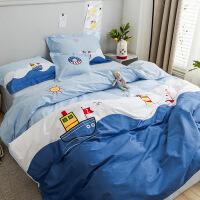 纯棉卡通四件套棉刺绣床上用品1.2米儿童被套床单三件套