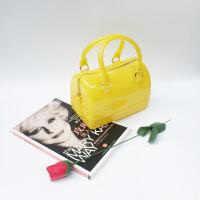 糖果色包包2018新款果冻包硅胶斜挎包迷你手提包女小包枕头女包夏 黄色 底长18CM