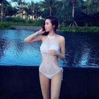 欧美性感连体泳衣女缕空比基尼针织小胸聚拢遮肚显瘦泡温泉游泳衣