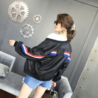 春装2018新款女外套韩版时尚女装立领拼色显瘦棒球服女防晒衣潮款 黑色 M