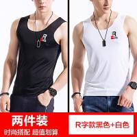 2018新款2件印花背心男士冰丝无痕运动修身型紧身跨栏个性青年夏季韩版潮