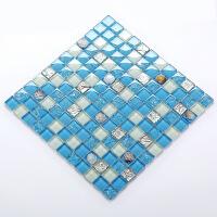 马赛克瓷砖佳纷地中海蓝色玻璃马赛克游泳池背景墙贝壳瓷砖鱼池水池打折促销 30*30