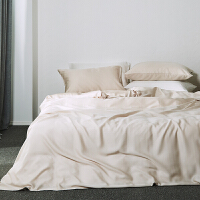 素色天丝四件套双人床品墨绿色冰丝绸夏裸睡纯色床单款床品