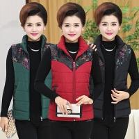 中年女士秋冬新款短款羽绒棉马甲加厚外套中老年纯色妈妈马夹背心