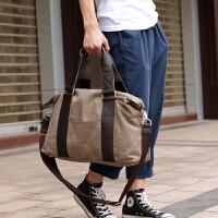 韩版单肩包男休闲帆布斜挎包潮流手提包旅行包学生背包男包包