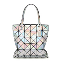 2018新款女包几何菱格手提包单肩包折叠百变镭射女士包包