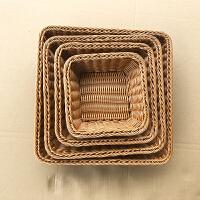 面包篮子 仿藤编竹柳编 编织水果盘展示蓝长方形手工篮塑料收纳筐