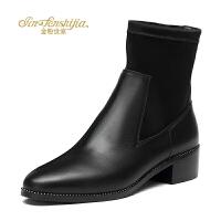 金粉世家 红蜻蜓旗下 秋冬新款短靴中跟冬季新款真皮尖头欧美女靴