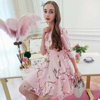欧洲站女装春新款超仙立体刺绣桃花高腰网纱时髦连衣裙