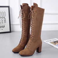 韩版新款磨砂皮系带长靴女秋冬高跟马丁靴高筒靴做旧粗跟绑带靴子
