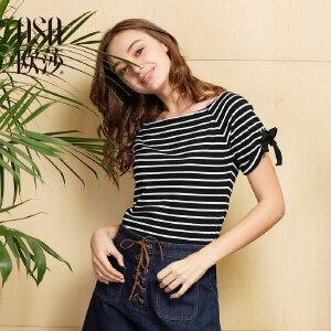 欧莎夏装女2017夏装新款 女装减龄百搭条纹短袖T恤B11043