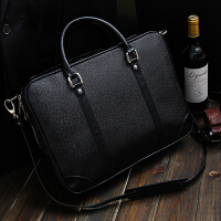 男包商务男士手提包横公文包男单肩斜挎包休闲男士包包电脑包 黑色