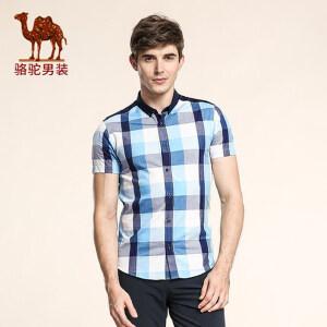 骆驼男装 夏季新款时尚修身格子日常休闲薄款短袖衬衫男衬衣