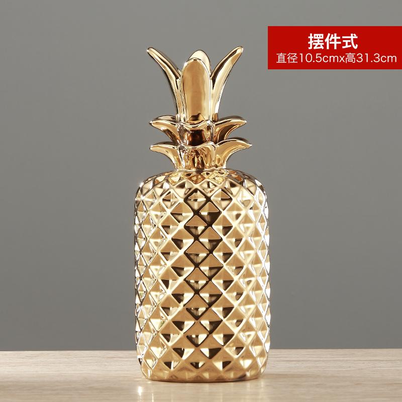 印度进口铜金色菠萝收纳罐北欧饰品摆件创意首饰盘工艺品装饰家居