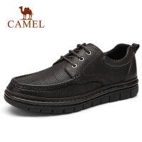 camel骆驼男鞋 秋季新款男士商务休闲皮鞋牛皮高弹轻便系带办公鞋