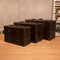 欧式复古皮箱衣服收纳箱整理大木箱子橱窗陈列摄影道具老式手提箱