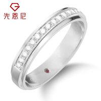 先恩尼珠宝白18K金钻石戒指正义守望男款钻戒内镶红宝石男士戒指