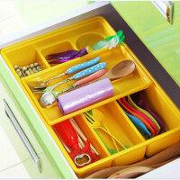 炫彩易分类双层抽屉收纳盒厨房餐具收纳盒双层抽屉塑料分隔整理盒 办公文具储物盒--黄色