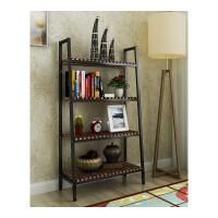 置物架简约现代书架创意客厅收纳架落地书柜货架子钢木展示架